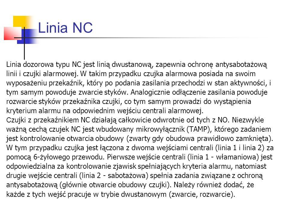 Linia NC Linia dozorowa typu NC jest linią dwustanową, zapewnia ochronę antysabotażową.
