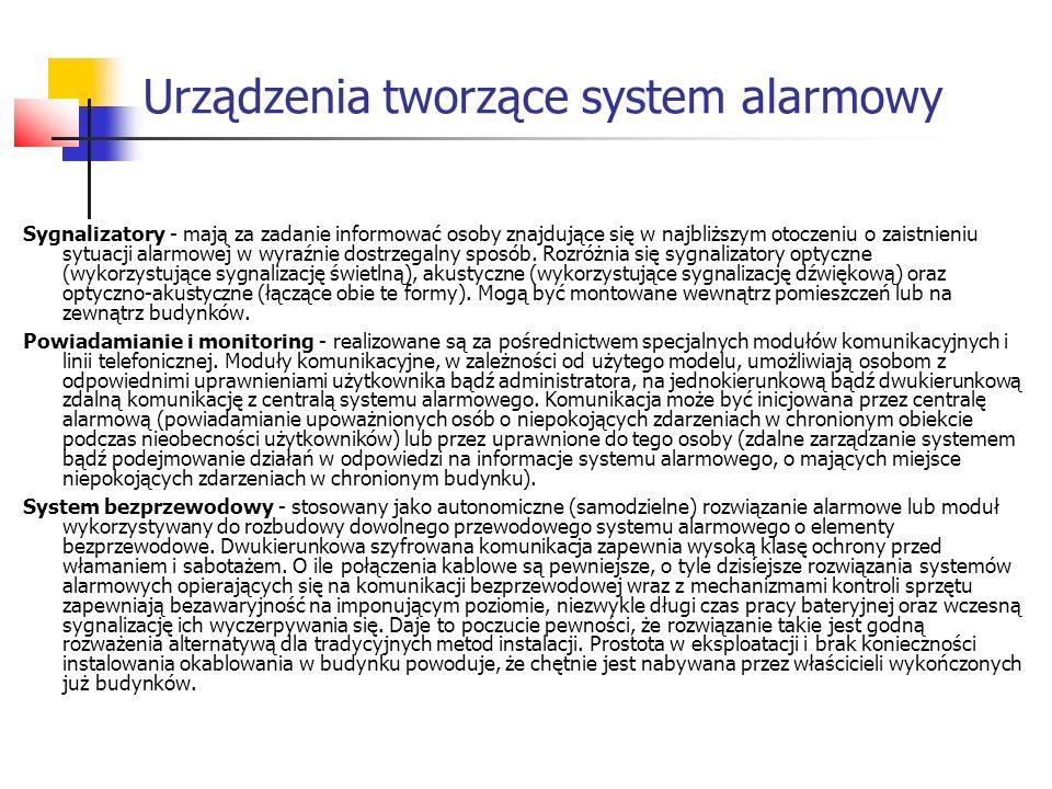 Urządzenia tworzące system alarmowy