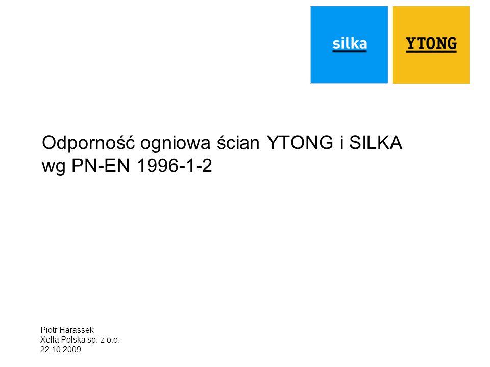 Odporność ogniowa ścian YTONG i SILKA wg PN-EN 1996-1-2