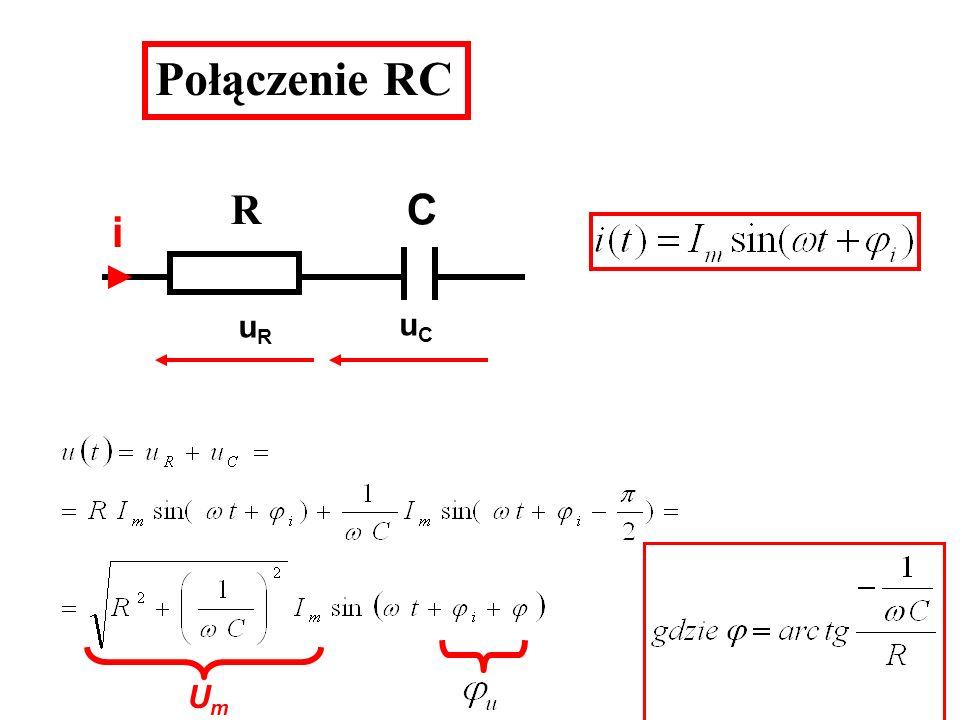 Połączenie RC R C i uR uC Um