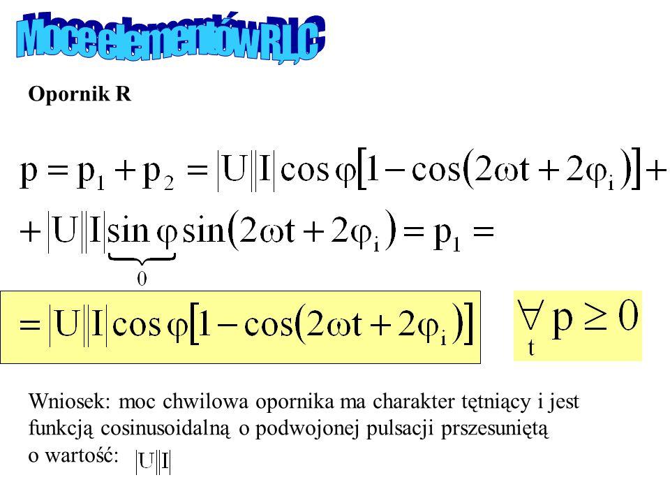 Moce elementów R,L,C Opornik R