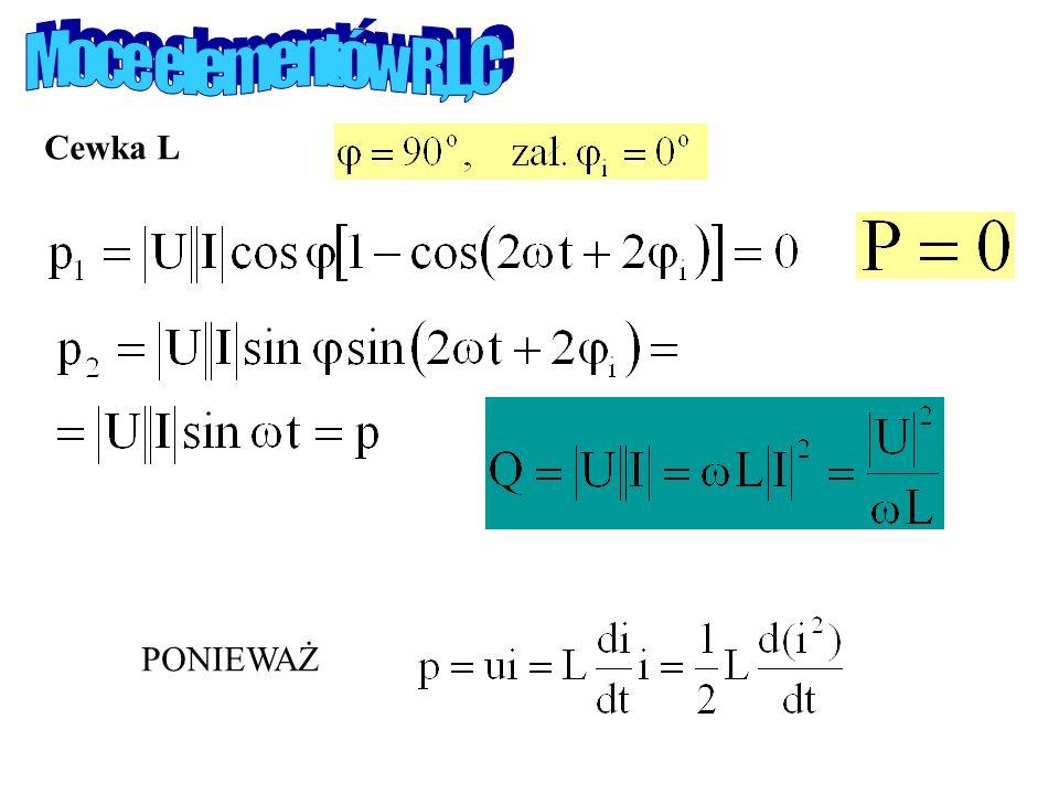 Moce elementów R,L,C Cewka L PONIEWAŻ