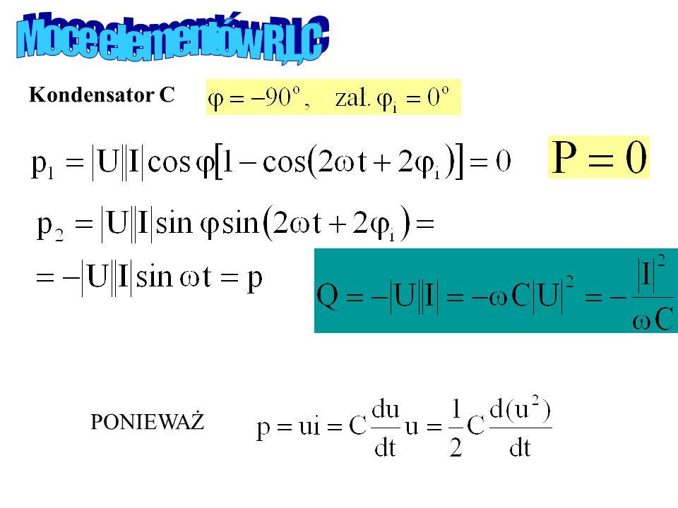 Moce elementów R,L,C Kondensator C PONIEWAŻ