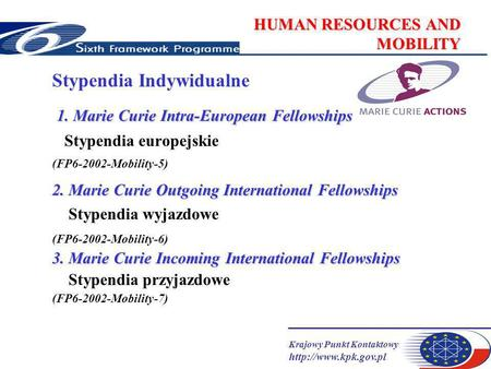 Krajowy Punkt Kontaktowy  HUMAN RESOURCES AND MOBILITY Stypendia Indywidualne 1. Marie Curie Intra-European Fellowships Stypendia.