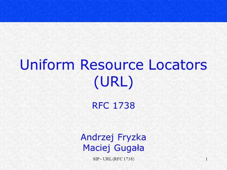 Uniform Resource Locators