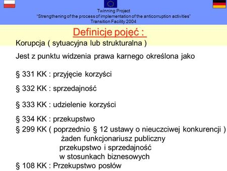 Twinning Project Strengthening of the process of implementation of the anticorruption activities Transition Facility 2004 Definicje pojęć : § 331 KK :