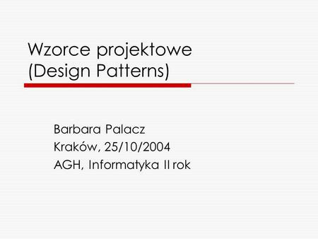 Wzorce projektowe (Design Patterns)