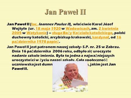 Jan Paweł Ii Boże W Trójcy Przenajświętszej Dziękujemy Ci Za To