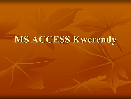 MS ACCESS Kwerendy.
