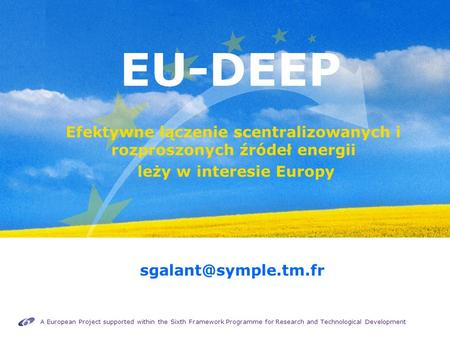 A European Project supported within the Sixth Framework Programme for Research and Technological Development EU-DEEP Efektywne łączenie scentralizowanych.