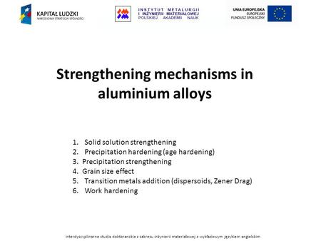 Strengthening mechanisms in aluminium alloys
