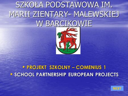 SZKOŁA PODSTAWOWA IM. MARII ZIENTARY- MALEWSKIEJ W BARCIKOWIE PROJEKT SZKOLNY – COMENIUS 1 PROJEKT SZKOLNY – COMENIUS 1 SCHOOL PARTNERSHIP EUROPEAN PROJECTS.