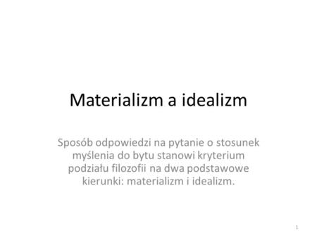 Materializm a idealizm