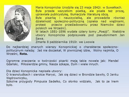Maria Konopnicka życie I Twórczość Ppt Video Online Pobierz
