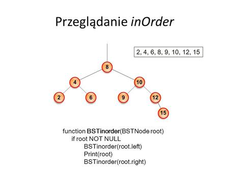 Przeglądanie inOrder function BSTinorder(BSTNode root) if root NOT NULL BSTinorder(root.left) Print(root) BSTinorder(root.right) 2, 4, 6, 8, 9, 10, 12,