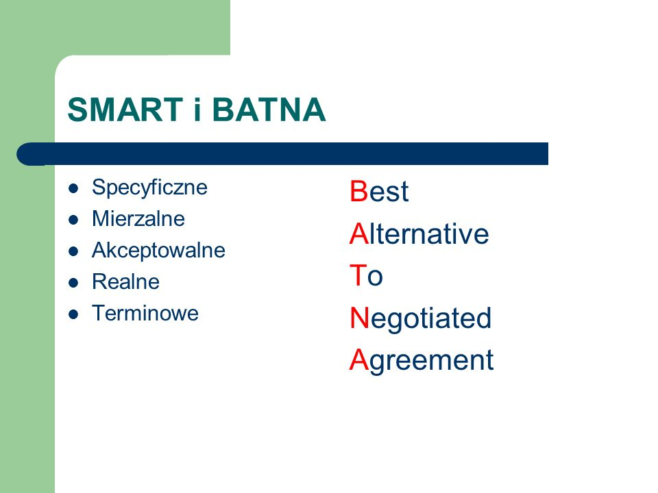 SMART i BATNA Best Alternative To Negotiated Agreement Specyficzne