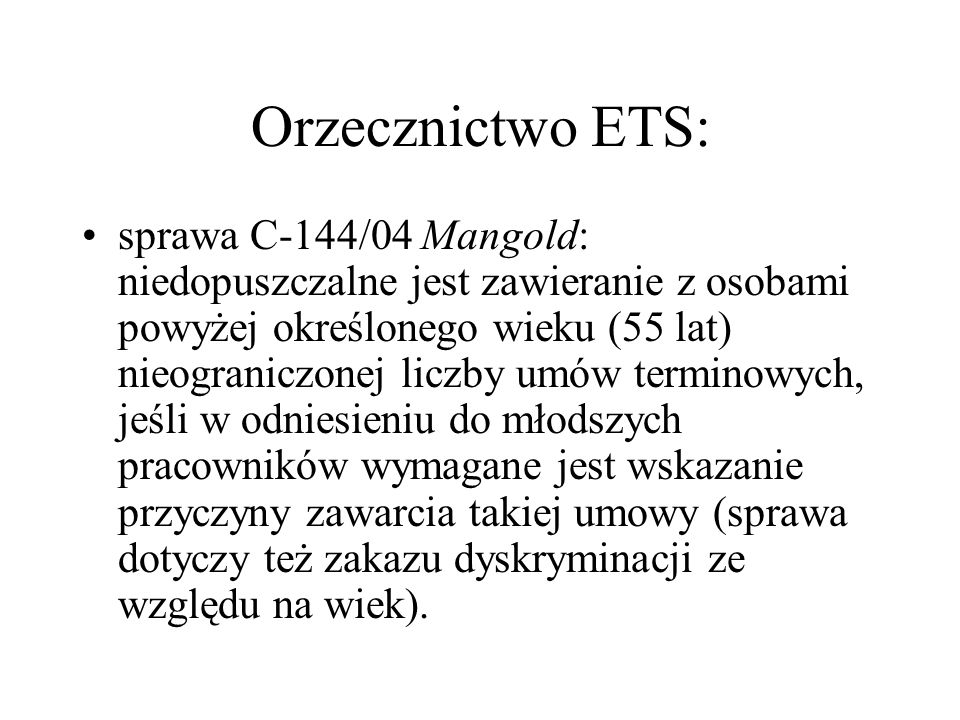 Orzecznictwo ETS: