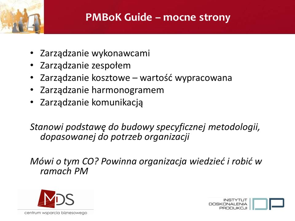PMBoK Guide – mocne strony