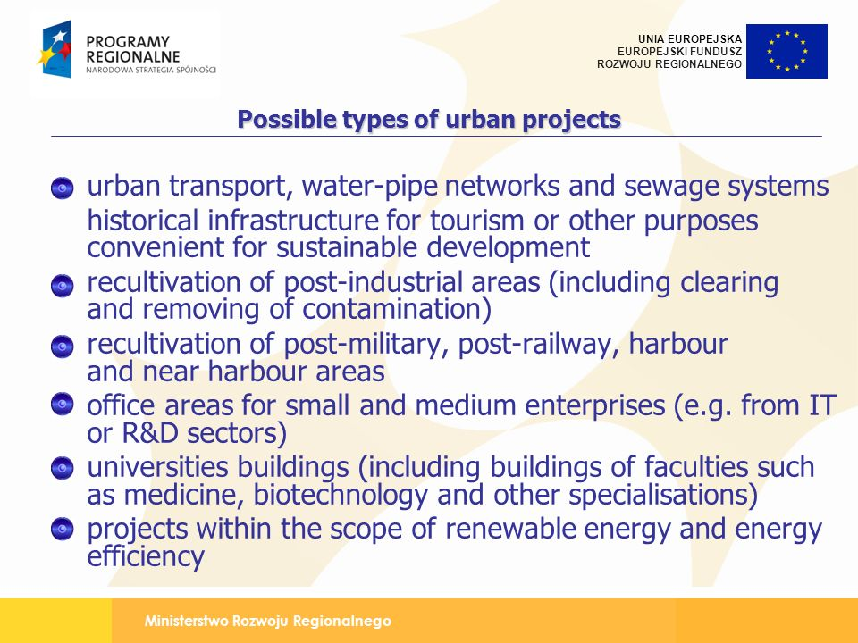 Possible types of urban projects
