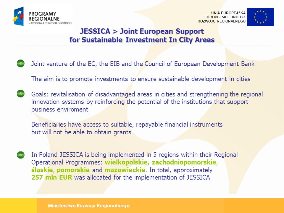 JESSICA > Joint European Support for Sustainable Investment In City Areas