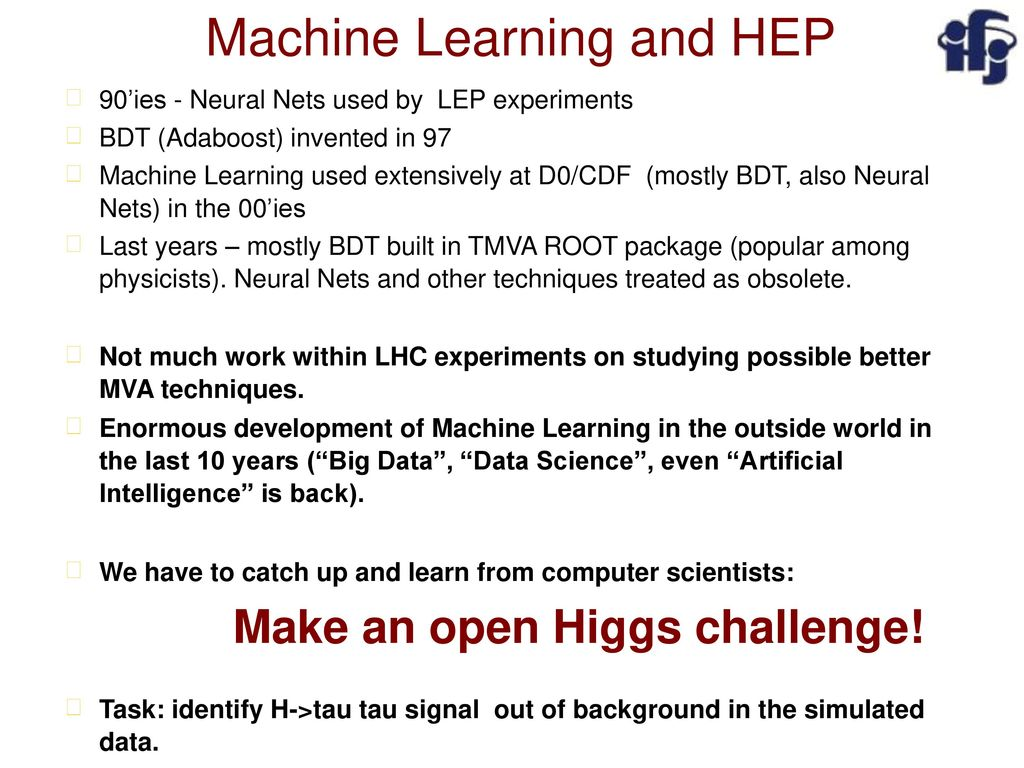 Machine Learning and HEP