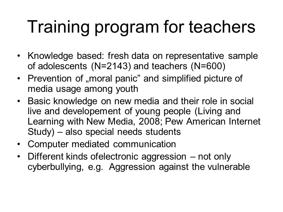 Training program for teachers