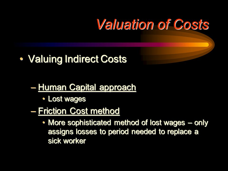 Valuation of Costs Valuing Indirect Costs Human Capital approach