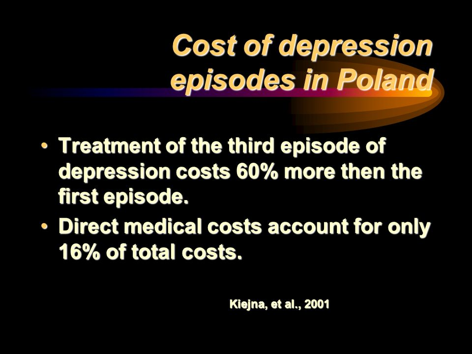 Cost of depression episodes in Poland