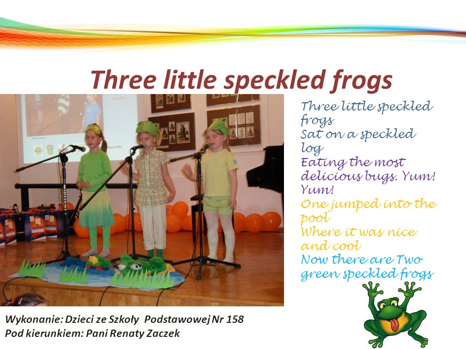 Three little speckled frogs