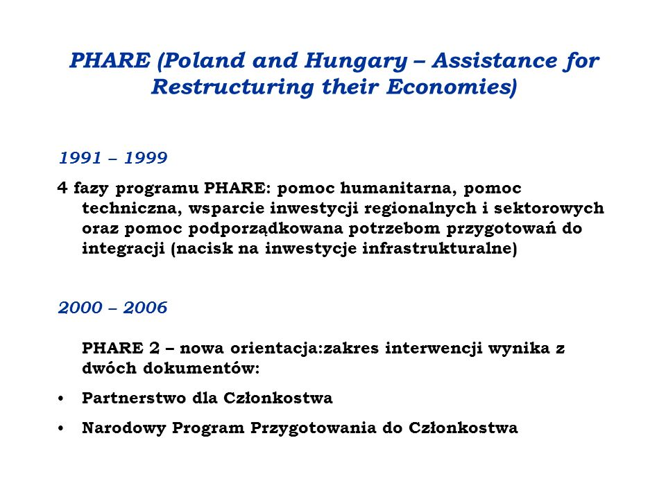 PHARE (Poland and Hungary – Assistance for Restructuring their Economies)