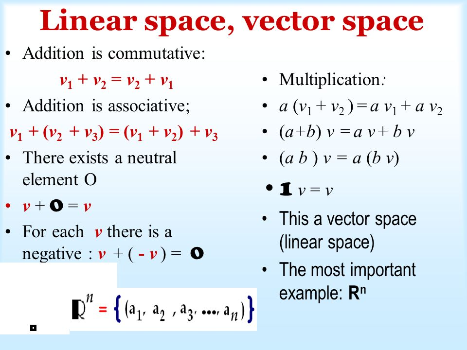 Linear space, vector space