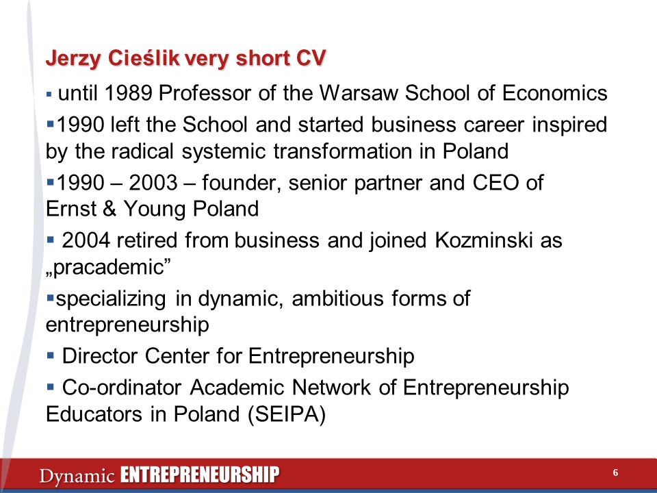 Jerzy Cieślik very short CV