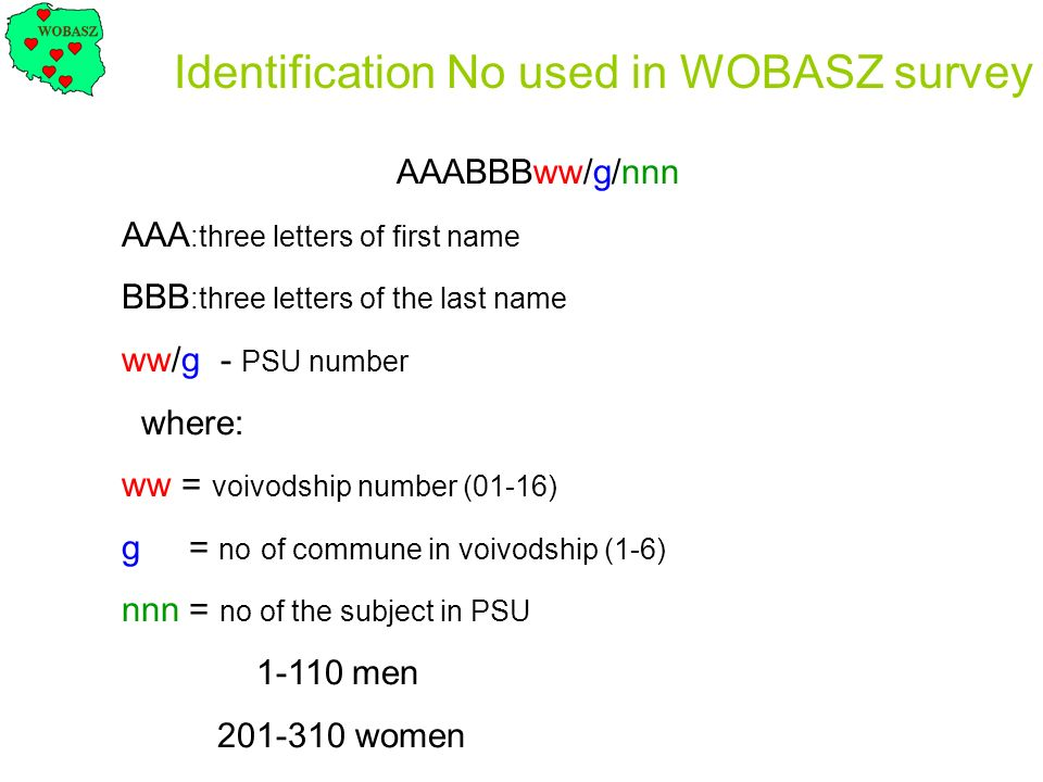 Identification No used in WOBASZ survey