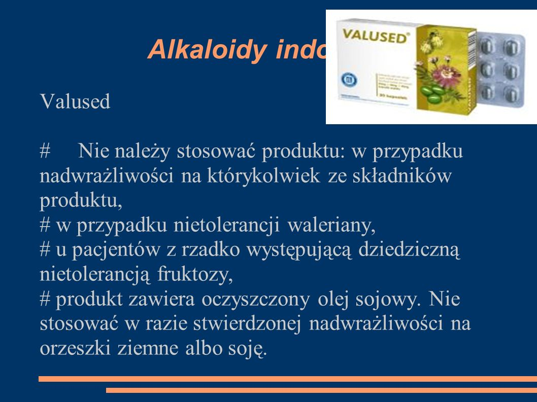 Alkaloidy indolowe Valused