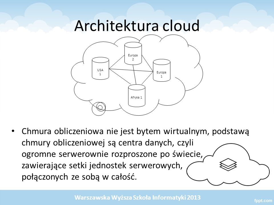 Architektura cloud USA 1. Europa 2. Afryka 1. Europa 1.
