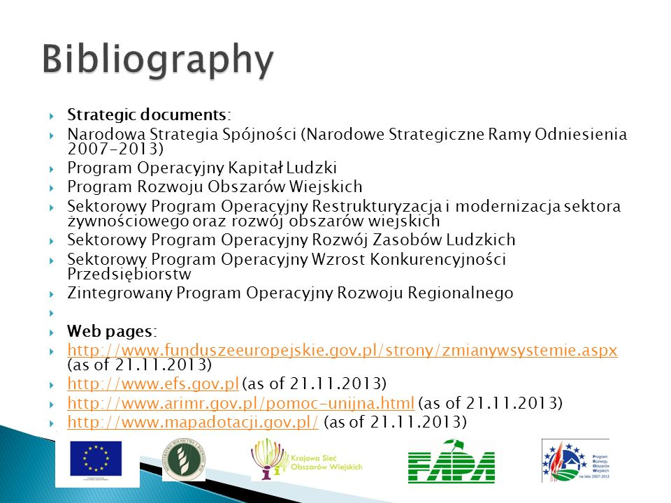 Bibliography Strategic documents: