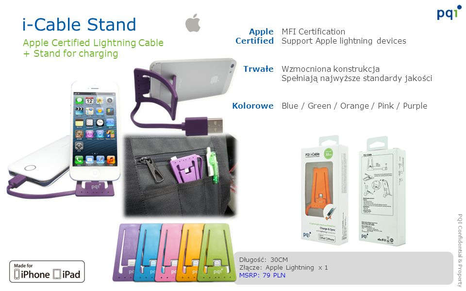 i-Cable Stand Apple Certified Lightning Cable + Stand for charging