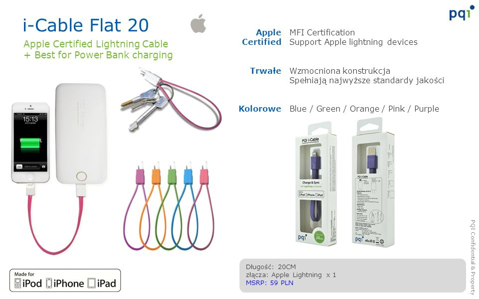 i-Cable Flat 20 Apple Certified Lightning Cable