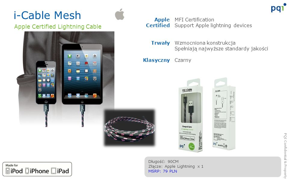 i-Cable Mesh Apple Certified Lightning Cable Apple Certified Trwały