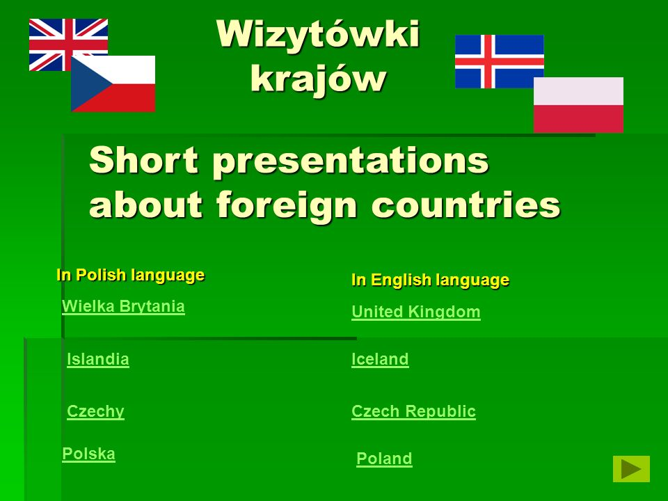 Short presentations about foreign countries