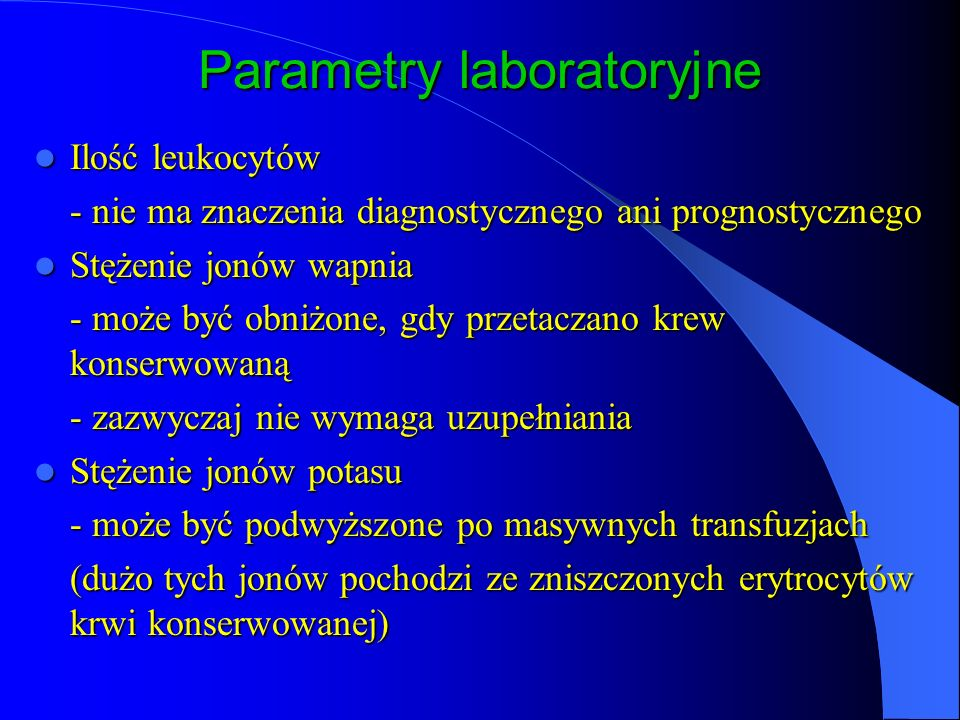 Parametry laboratoryjne