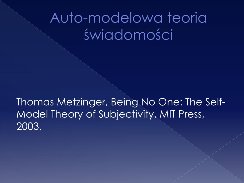 being no one the self model theory of subjectivity