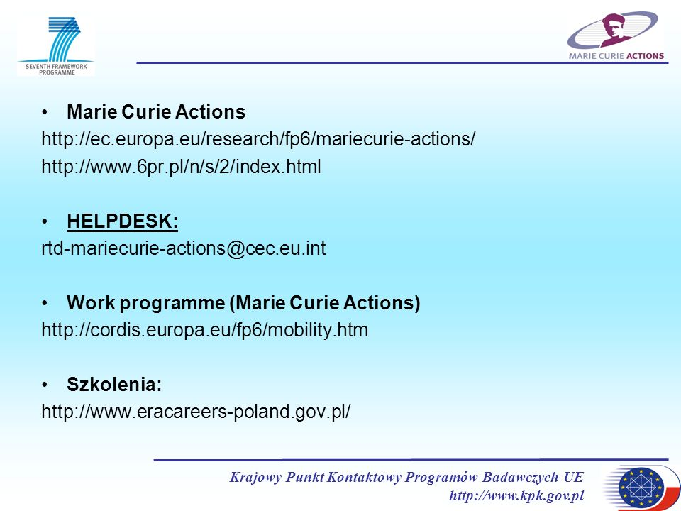 Work programme (Marie Curie Actions)