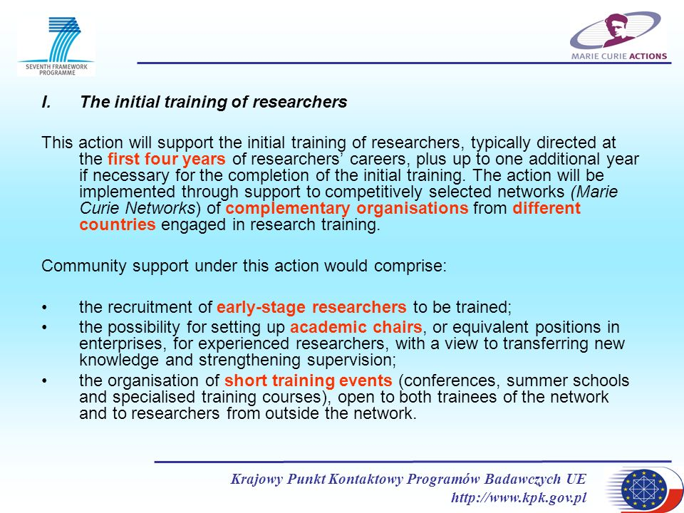 The initial training of researchers