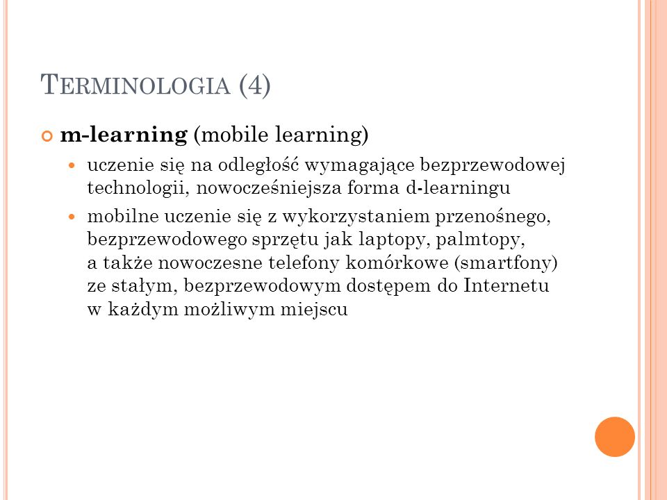 Terminologia (4) m-learning (mobile learning)