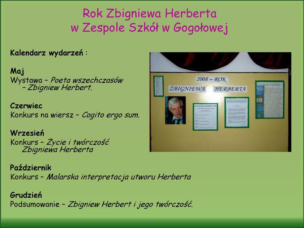 2008 Rok Zbigniewa Herberta Ppt Pobierz
