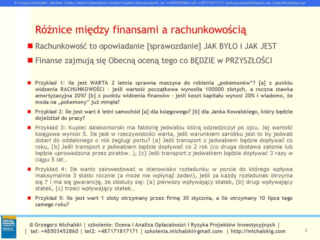 802cef06264eaf Analiza i ocena opłacalności oraz ryzyka projektów inwestycyjnych. 2  Różnice ...