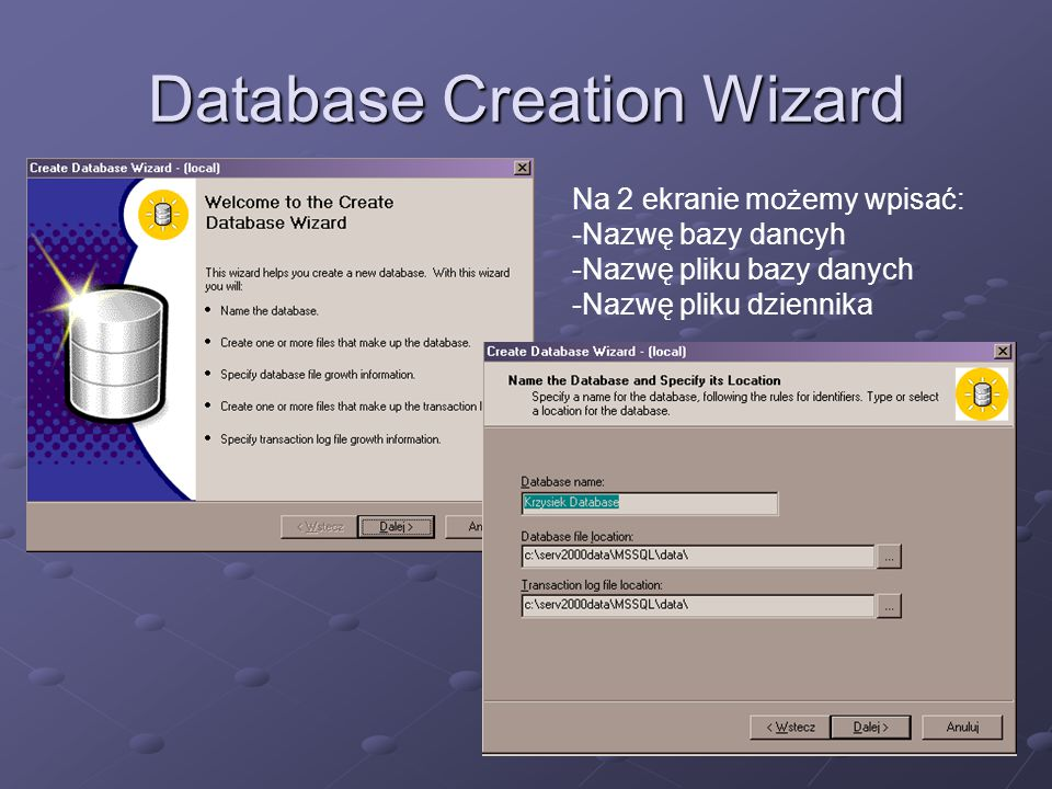 Database Creation Wizard