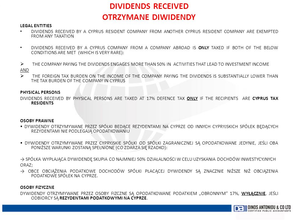 DIVIDENDS RECEIVED OTRZYMANE DIWIDENDY