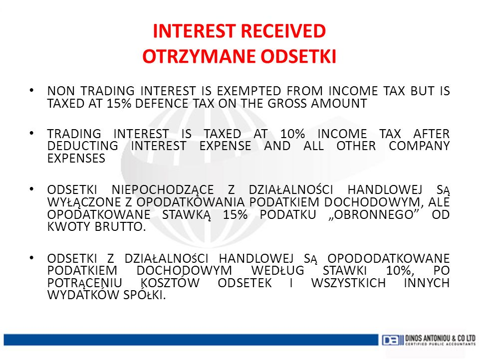 INTEREST RECEIVED OTRZYMANE ODSETKI